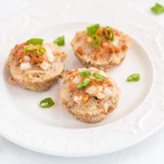 ground turkey muffins on a white plate