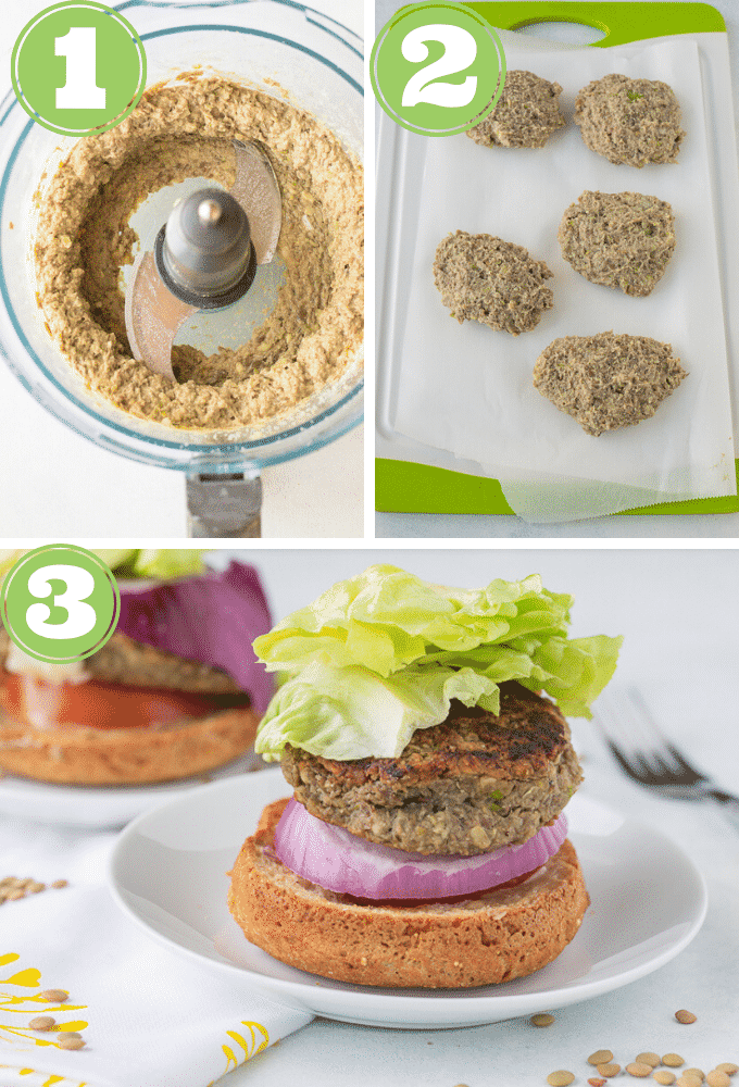 how to make lentil burger process shots