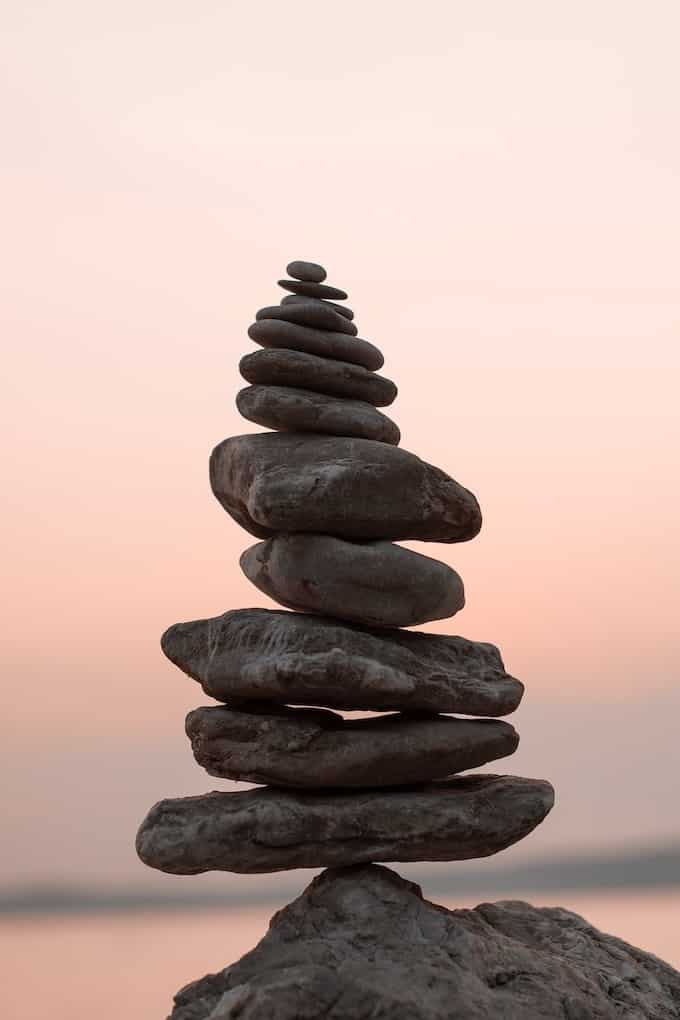 stack of meditative rocks