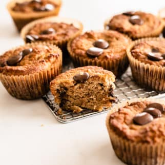 coconut flour muffins with chocolate chips on a table