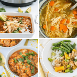 Collage of different Instant Pot chicken recipes