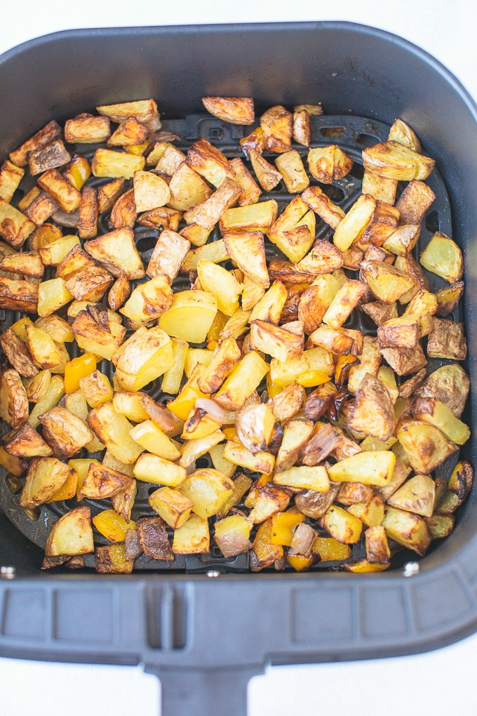 roasted potatoes in the air fryer ready to be eaten