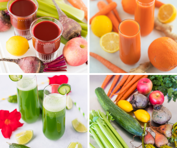 juice recipe collage