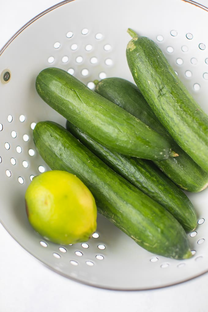 cucumber juice ingredients in white colander