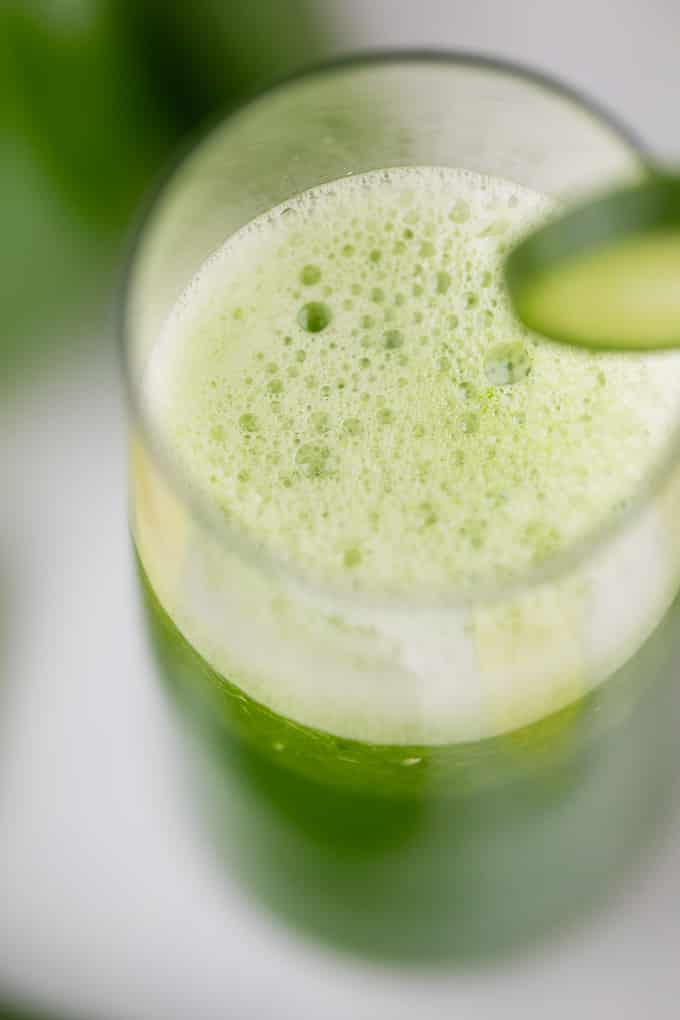 cucumber juice foam with a cucumber slice