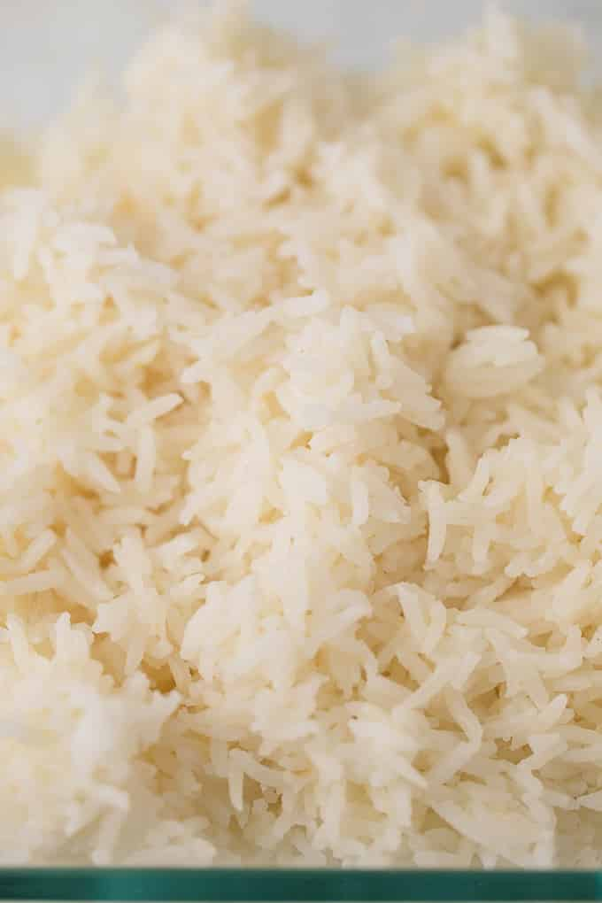 fluffy cooked rice in a glass bowl