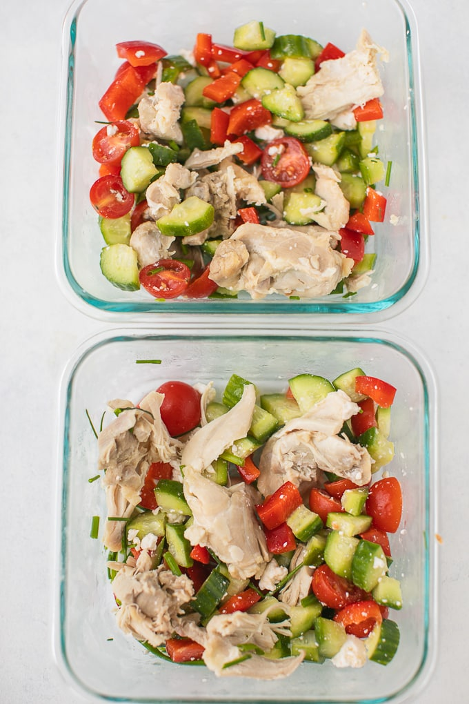 salad in meal prep containers