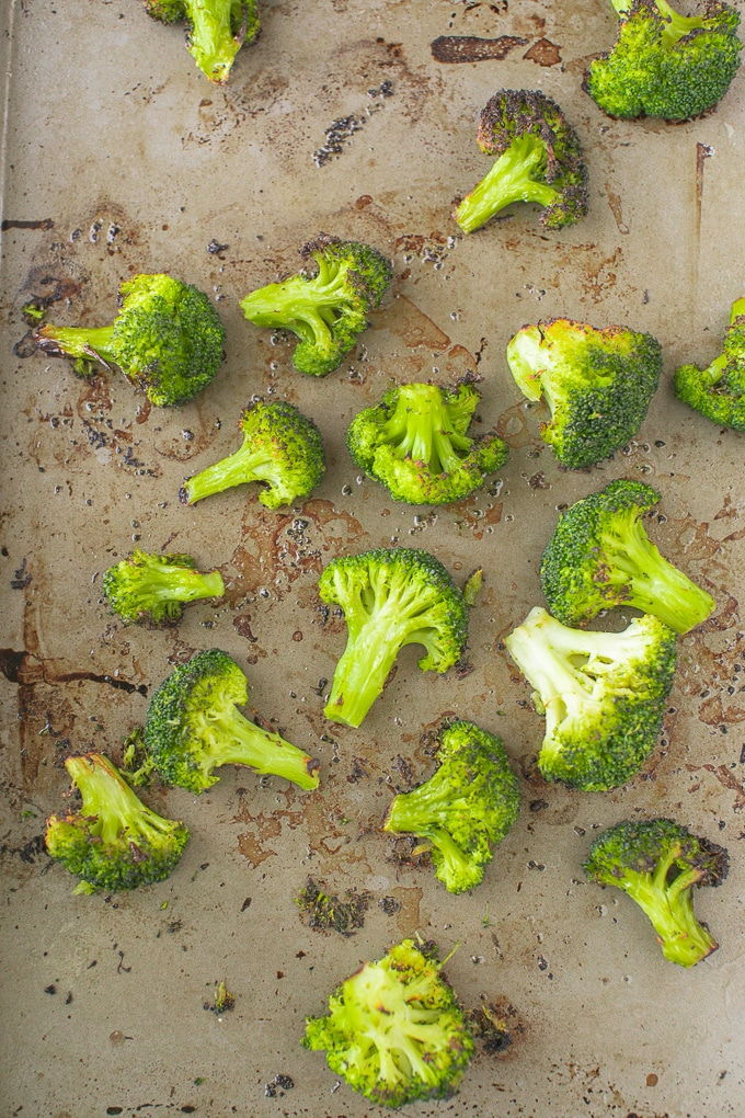 broccoli on a baking sheet