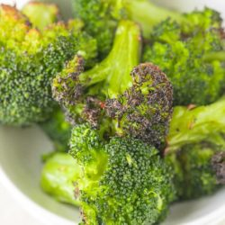 bowl of roasted broccoli florets