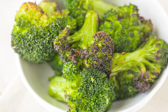 bowl of roasted broccoli florets