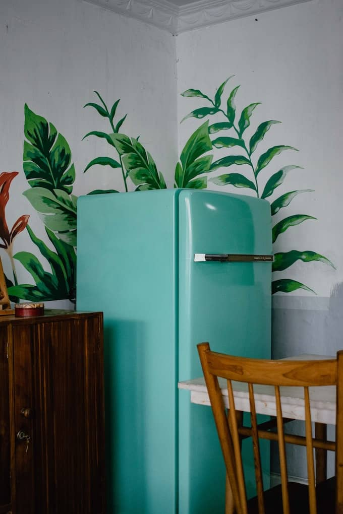 turquoise refrigerator