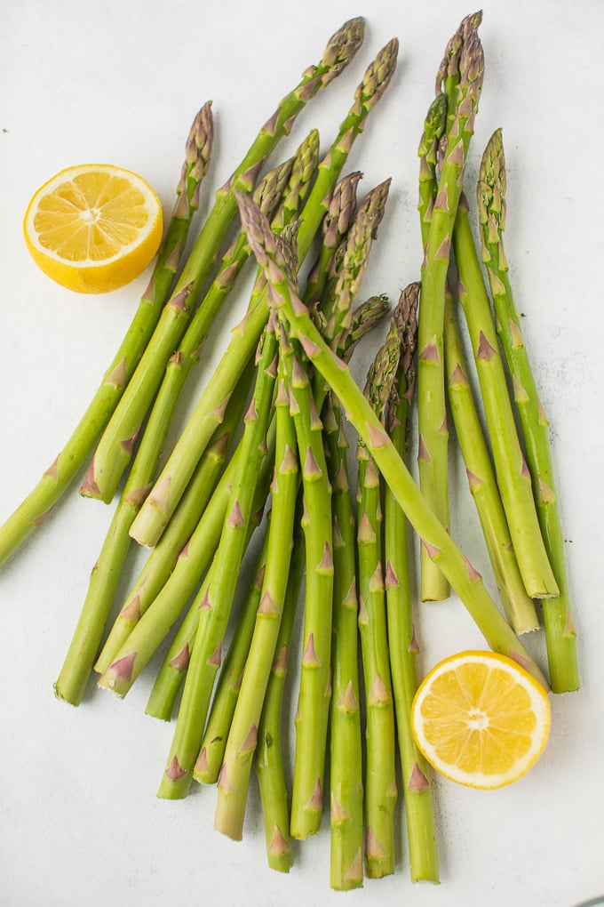 fresh asparagus spears on a white background