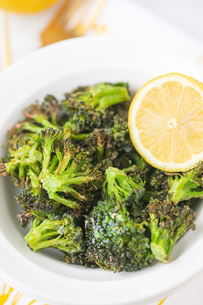 bowl of air fryer lemon broccoli