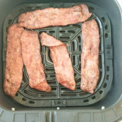 turkey bacon cooked in air fryer basket