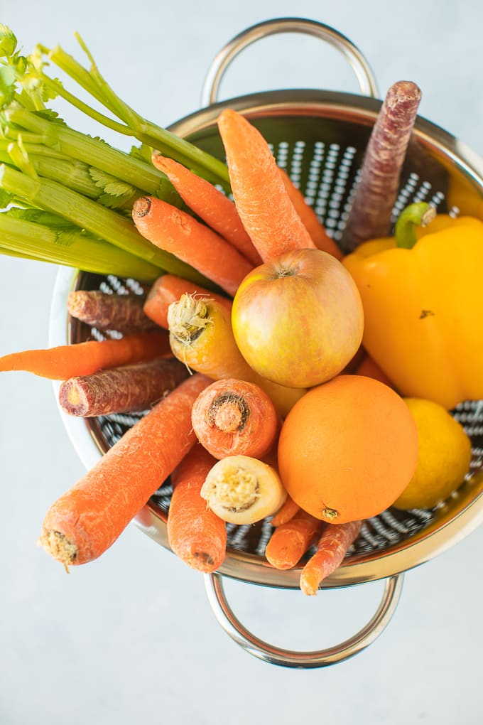 vegetables in a stainless steel colander