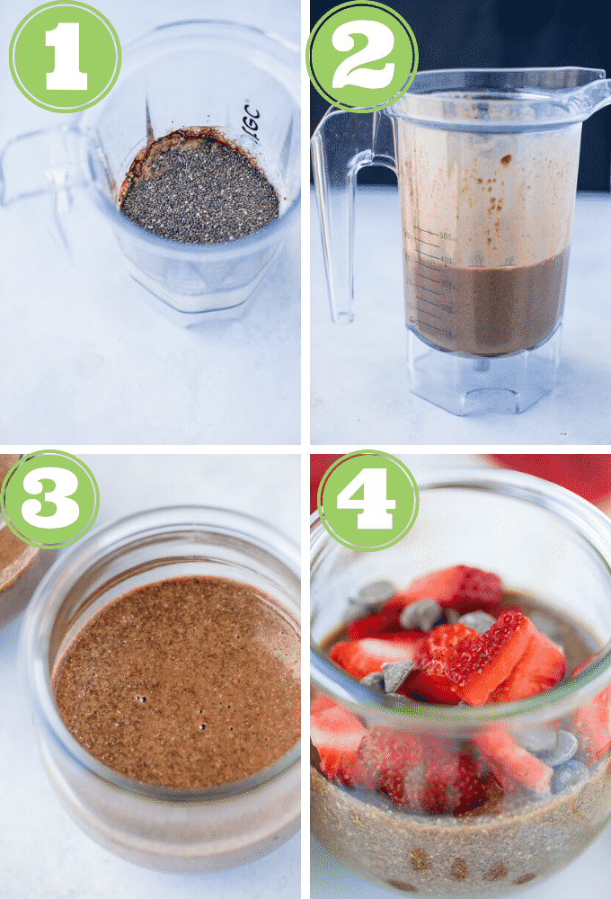 chia pudding process shots