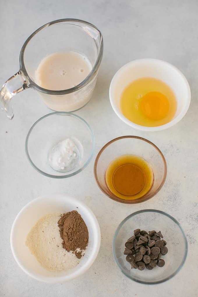 mug cake ingredients on a white background