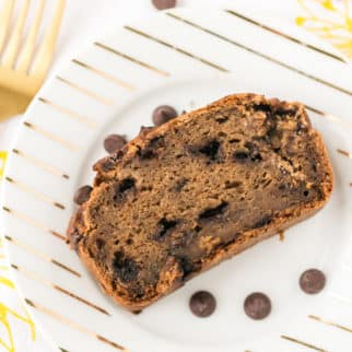 dairy free banana bread on a plate with a fork