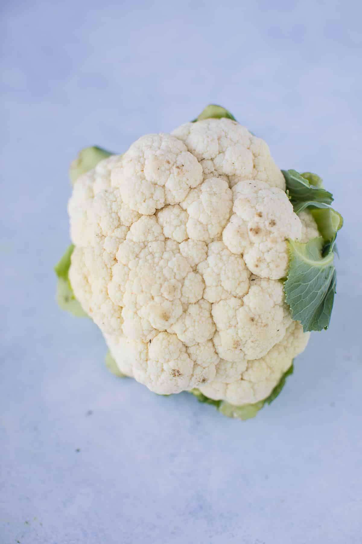 head of cauliflower on a white background