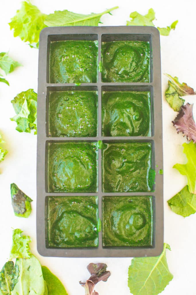 pureed spinach in ice cube tray