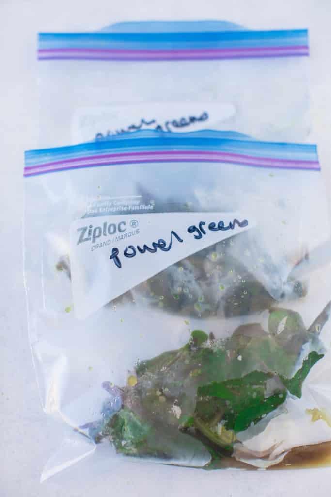 frozen power greens in zip-top bags