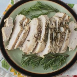plate with sliced turkey breast