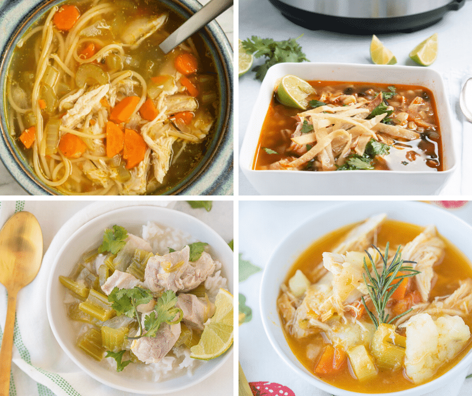 collage of instant pot soup and stew recipes
