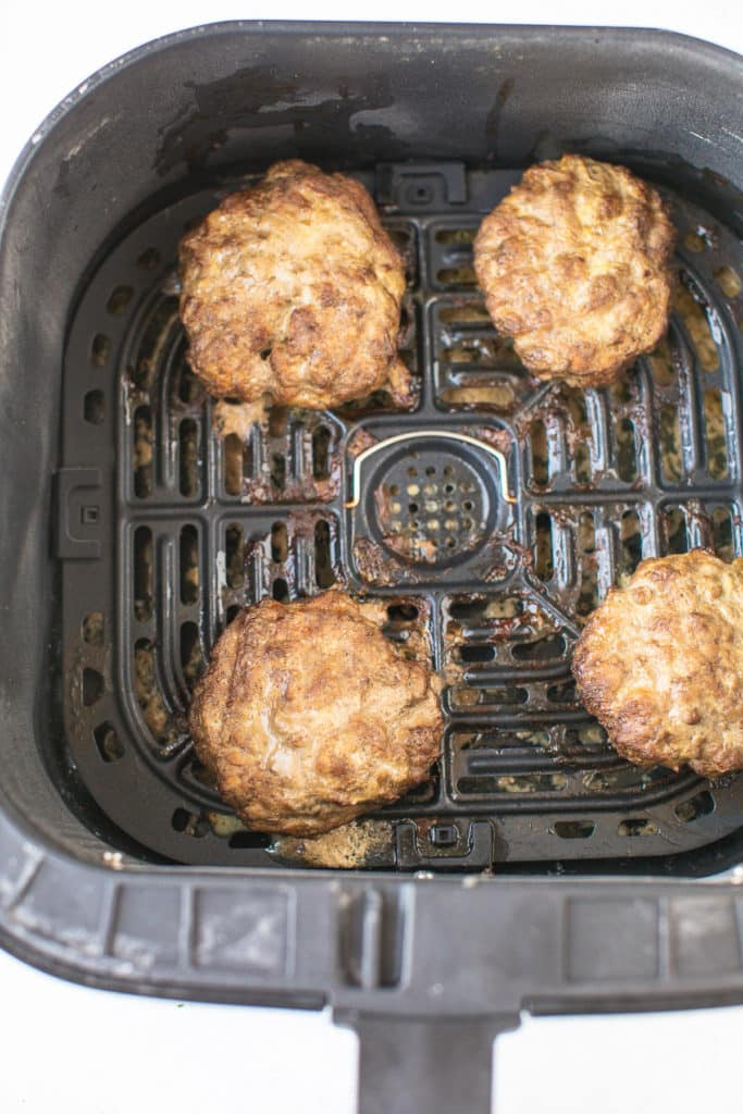 cooked burgers in an air fryer