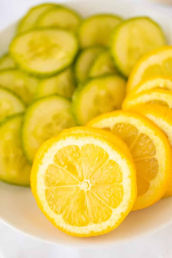 sliced lemon and cucumbers
