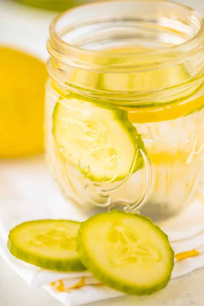 small jar of cucumber infused water