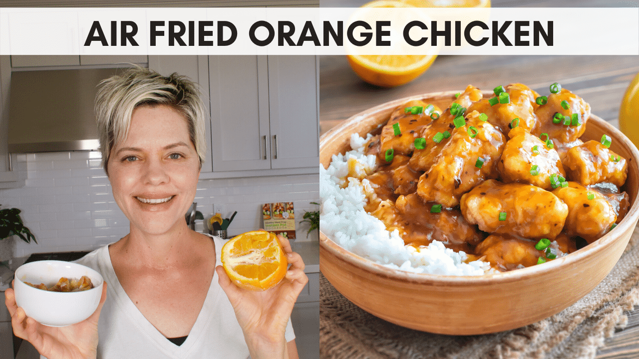 youtube thumbnail for air fried orange chicken video