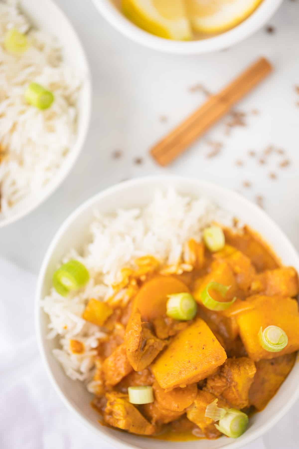 indian curry served with rice