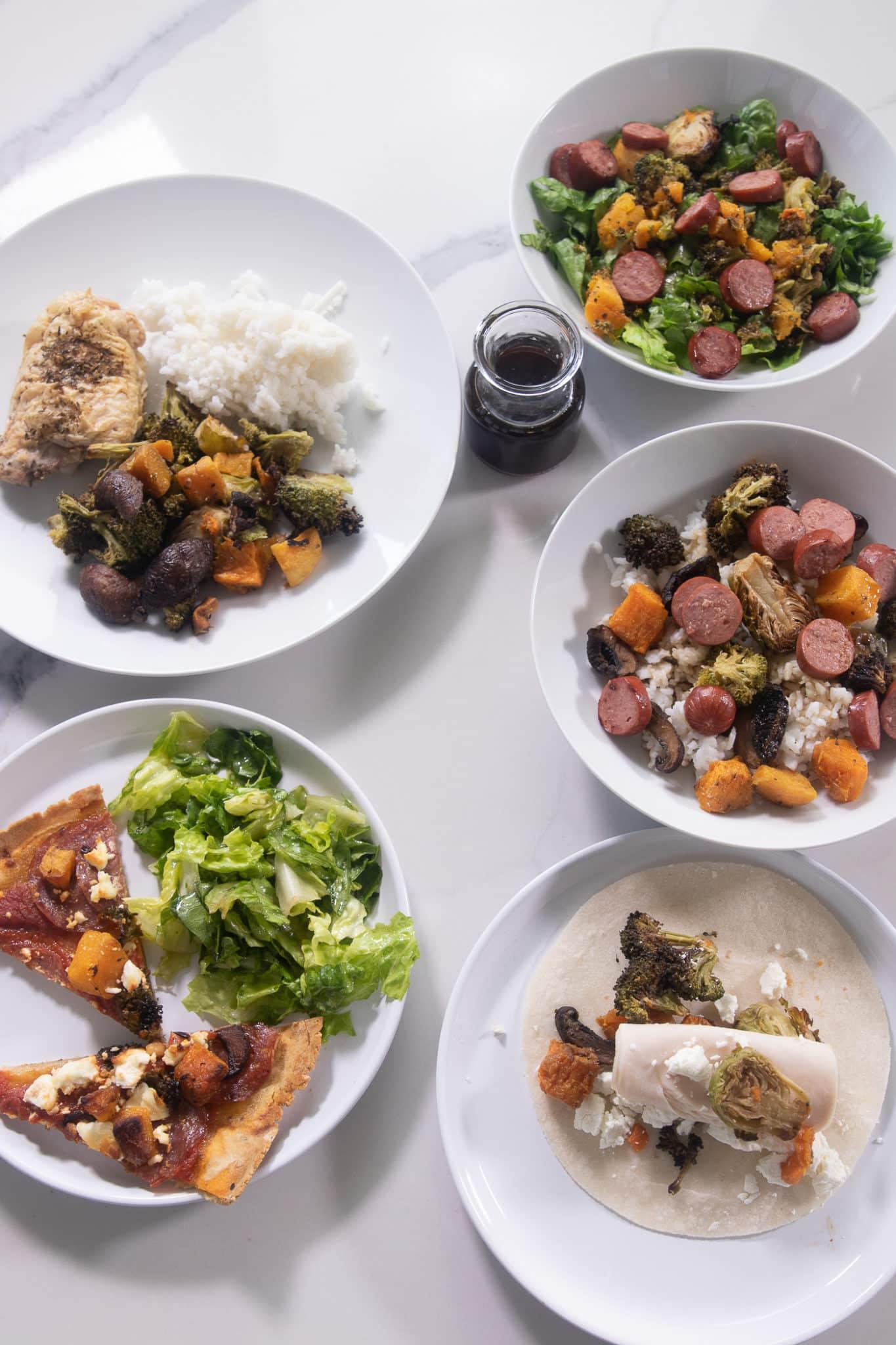 five meal prep meals