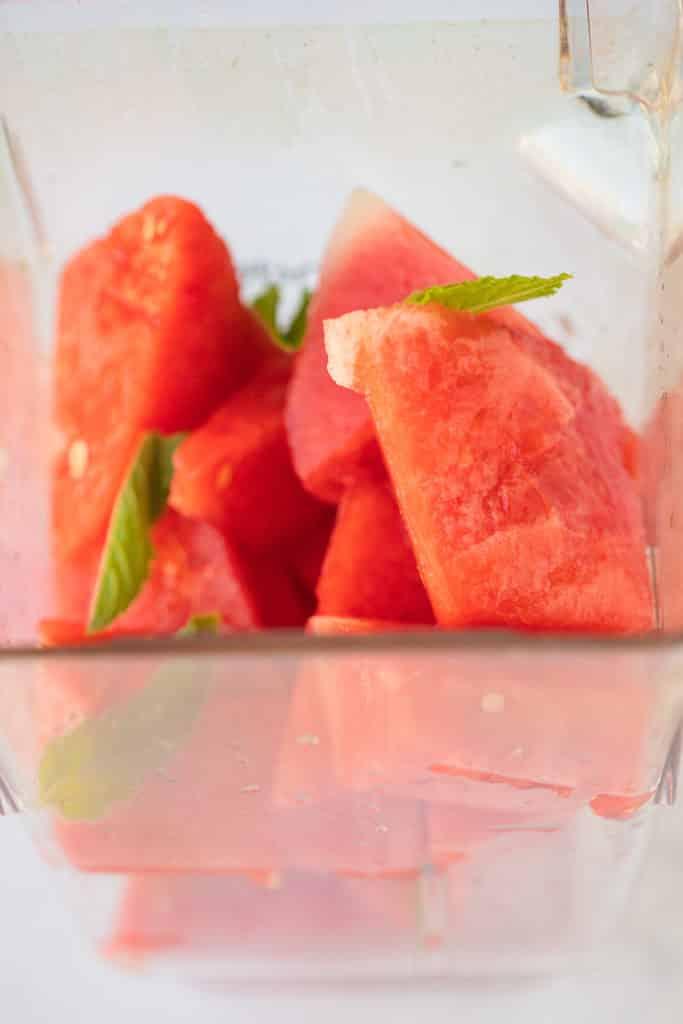 watermelon chunks in the blender