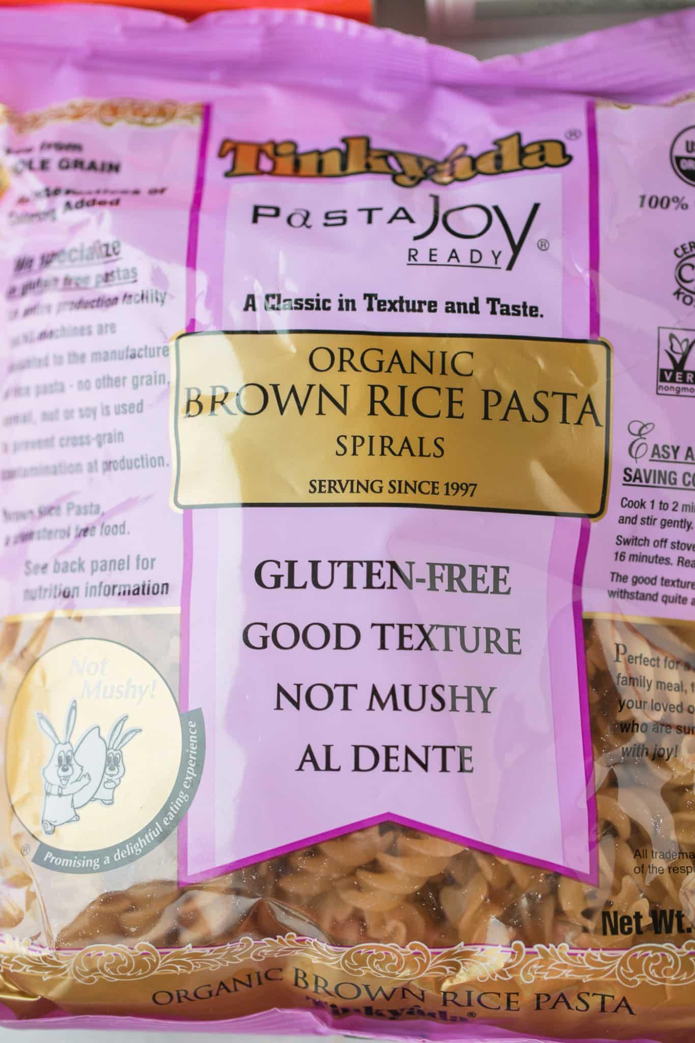 bag of Tinkyada brown rice spiral pasta