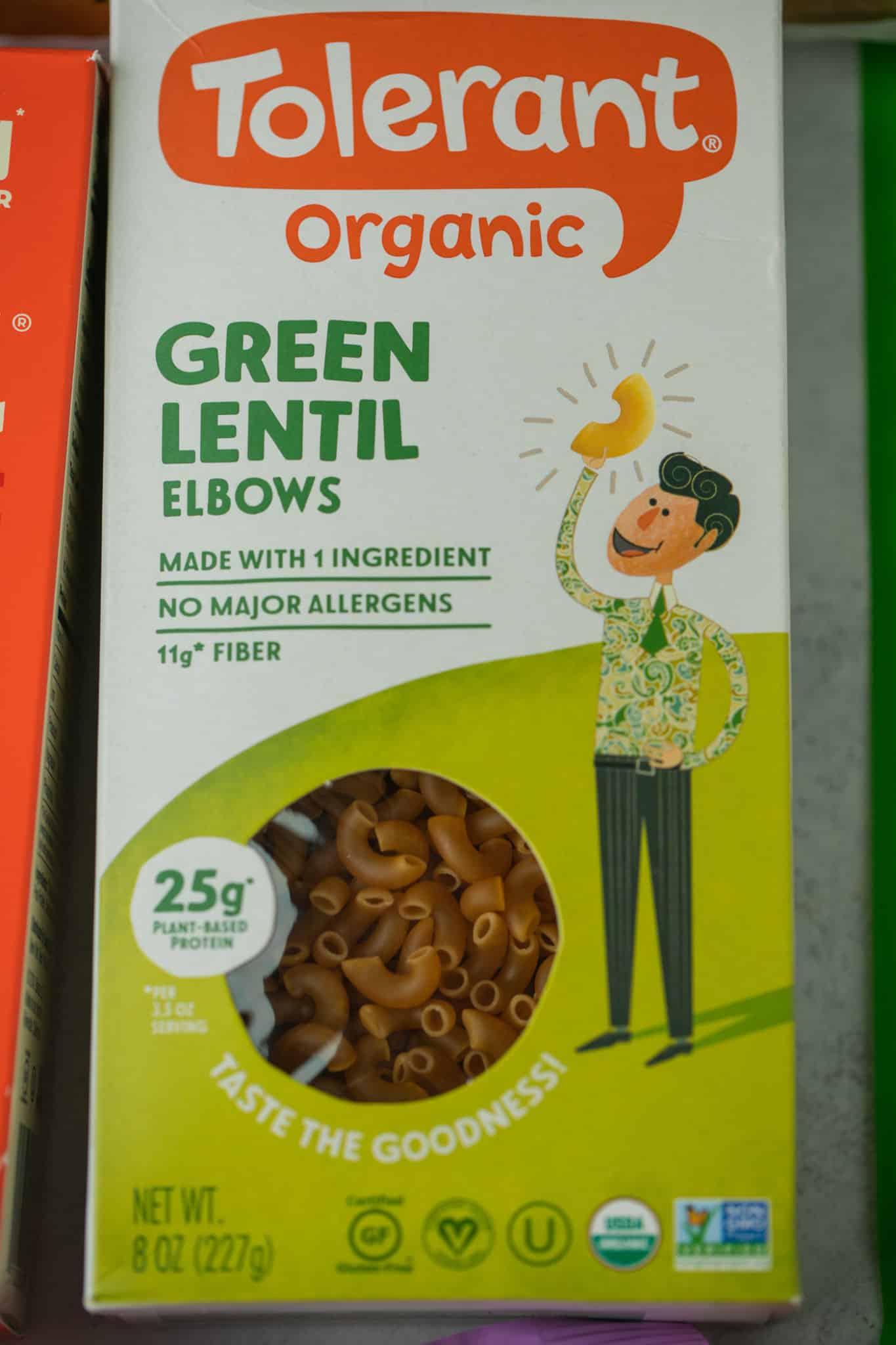 tolerant green lentil pasta box
