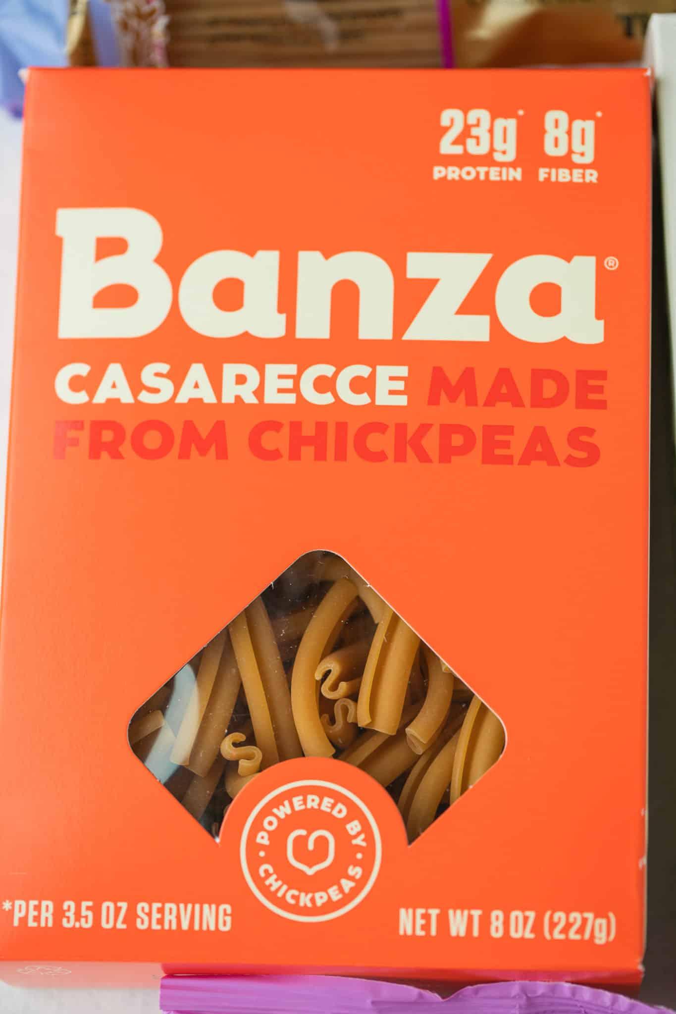 box of Banza chickpea pasta