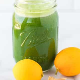 parsley juice served in a jar