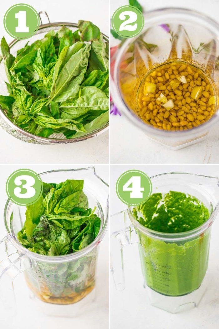 collage of process shots for vegan pesto