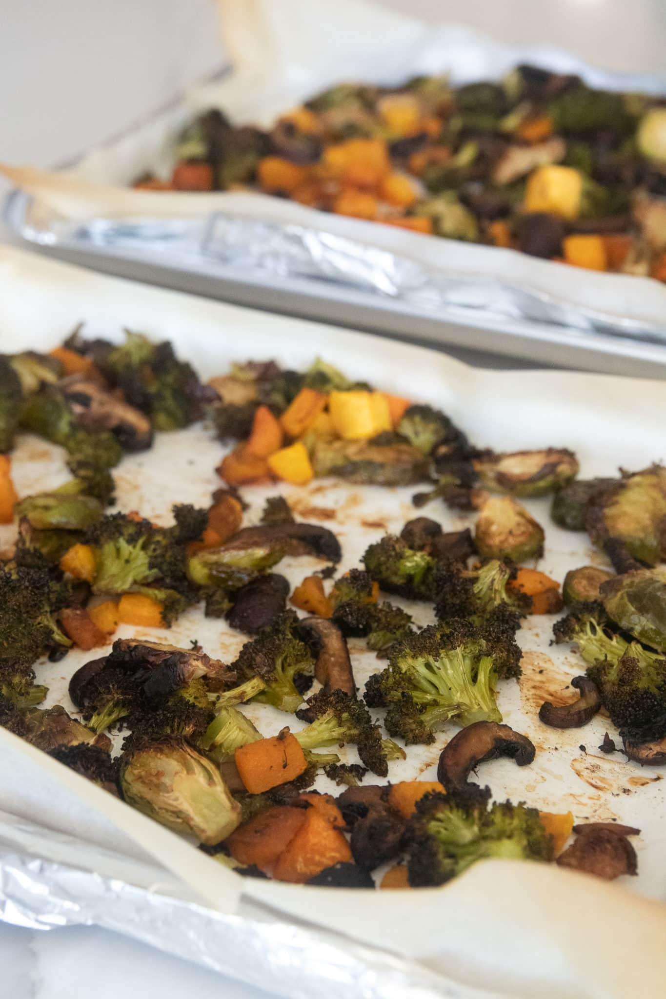 roasted vegetables on sheet pans for vegetable meal prep