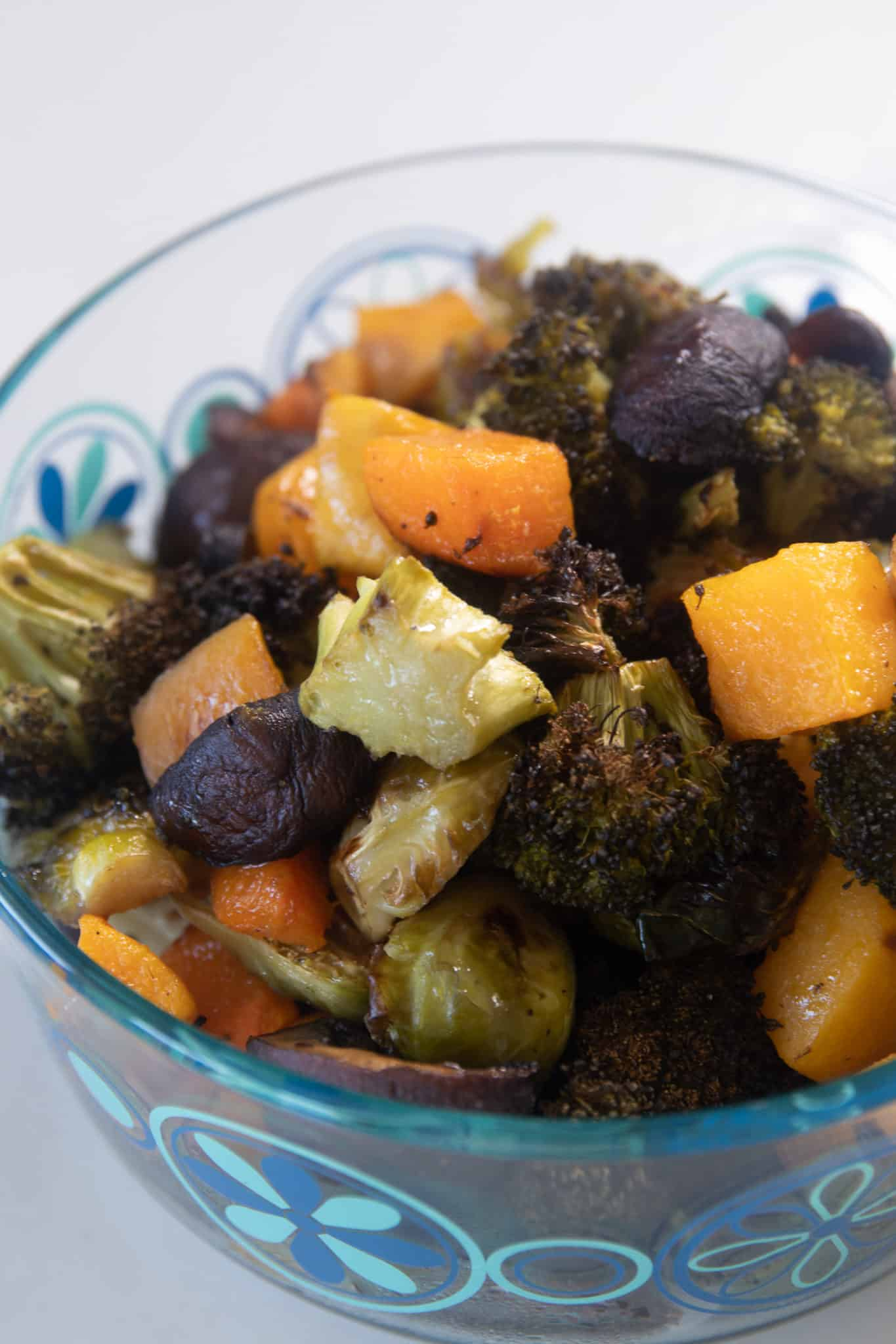 meal prep container with roasted vegetables