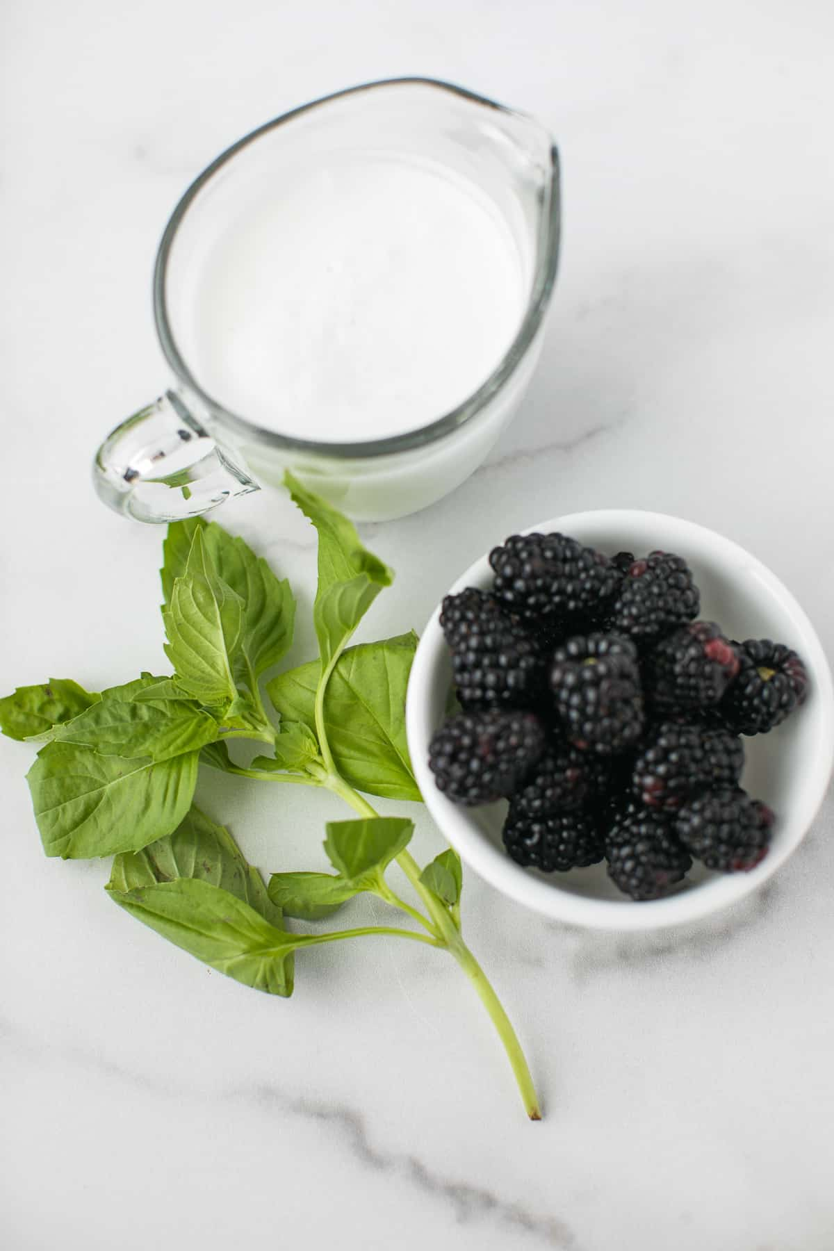 coconut milk, basil, and a bowl of blackberries