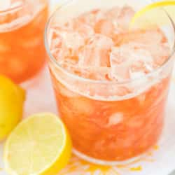 two glasses of pink kombucha lemonade