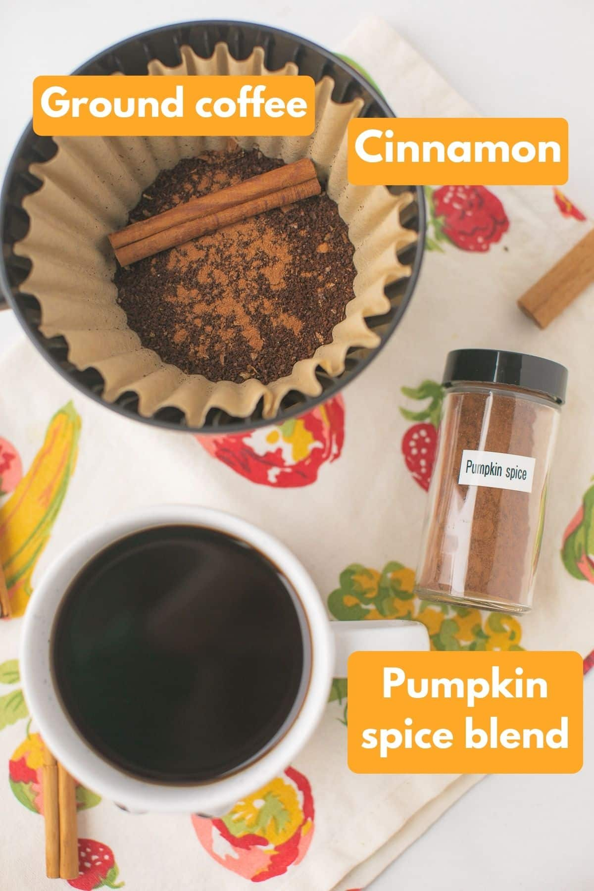 labeled photo with ingredients for pumpkin coffee