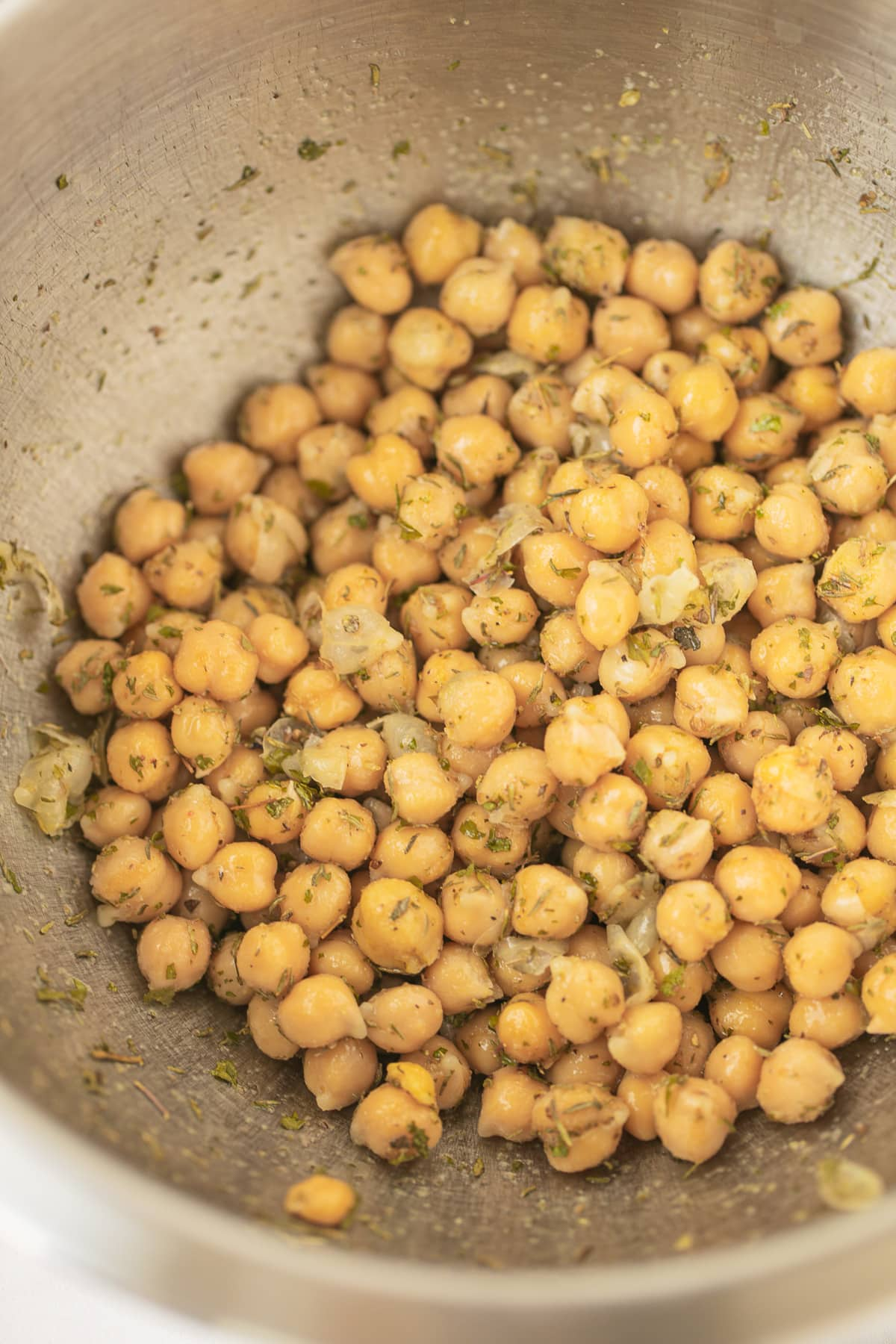 chickpeas with spices in a bowl