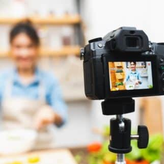 camera in front of a cooking show