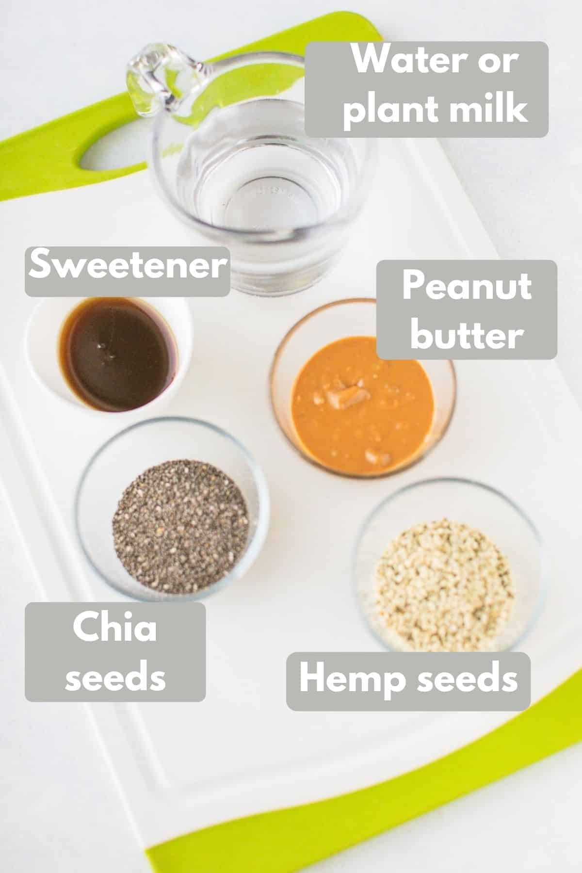 labeled ingredients for peanut butter chia pudding
