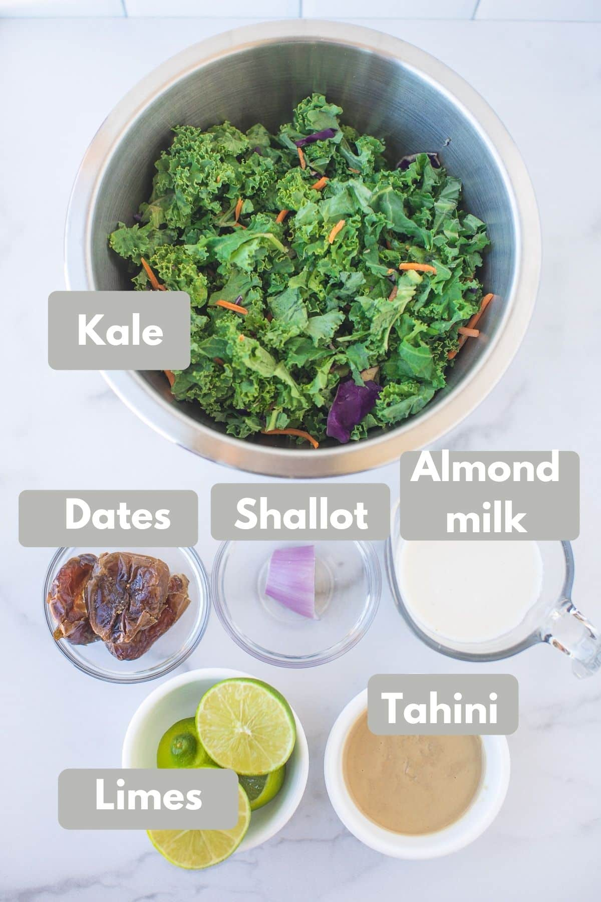 photo with labeled ingredients for kale salad
