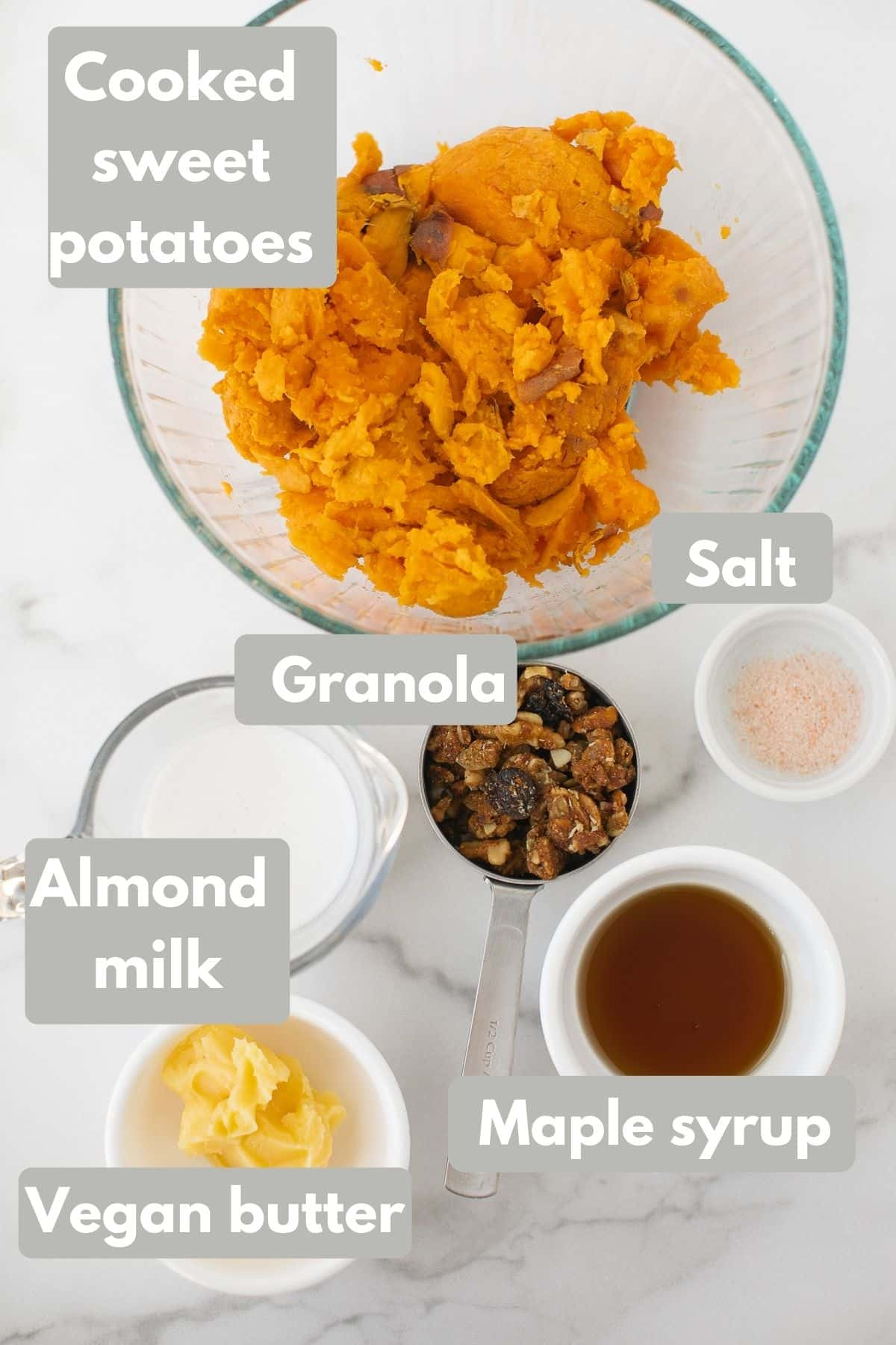 labeled photo with ingredients for vegan sweet potato souffle