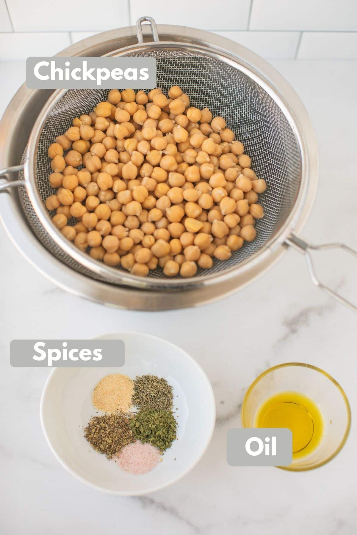 labeled photo with ingredients for air fryer roasted chickpeas